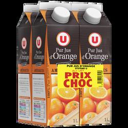 Pur jus d'orange des Amériques U brique 4x1 litre