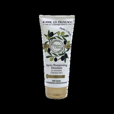 Après-shampoing nourrissant pour cheveux secs divine olive JEANNE EN PROVENCE, flacon de 200ml