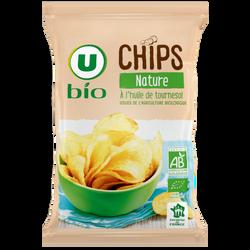 Chips nature bio U BIO, sachet de 125g