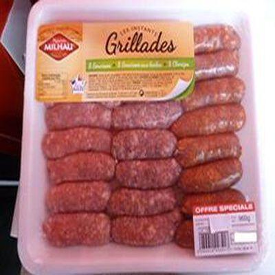 """8 saucisses + 8 saucisses aux herbes + 8 chorizos """"MILHAU"""" 960GR"""