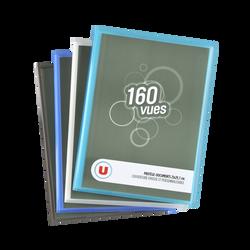 Protège documents 160 vues U 21x29,7cm, couverture personnalisable,coloris assortis : bleu, transparent, gris, turquoise