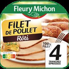 Filet de poulet rôti FLEURY MICHON, barquette 4 tranches, soit 120g
