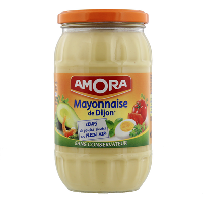 Mayonnaise nature sans conservateur AMORA, bocal de 470g