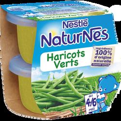 Petits pots bébé haricots verts NATURNES, dès 4/6 mois, 2 bols de 130g