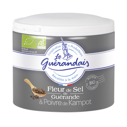 Fleur de sel poivre de de kampo bio LE GUERANDAIS boîte 125g