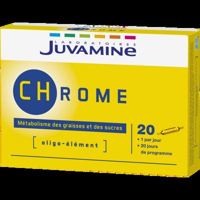 Métabolisme des graisses et des sucres chrome JUVAMINE, 20 ampoules à boire