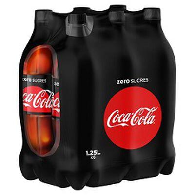 Soda COCA COLA zero sucres, le pack de 6 bouteilles de 1,25L