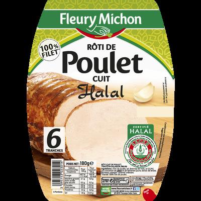 Rôti de poulet Halal FLEURY MICHON, 6 tranches, 180g