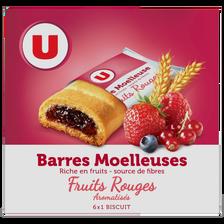 Barres moelleuses fourrées aux fruits rouges U, 6 barres dans un paquet de 125g