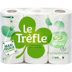 Papier toilette maxi feuille aloe vera LE TRÈFLE, 6 rouleaux