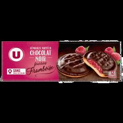 Biscuits fourrés à la framboise nappés de chocolat U, paquet de 150g