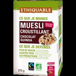 Muesli croustillant quinoa chocolat Bio ETHIQUABLE, 375g