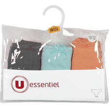 LOT DE 3 SLIPS FILLE UNIS U ESSENTIEL