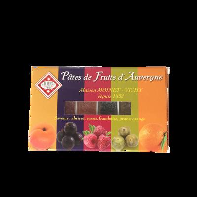 Pâte de fruit d'Auvergne assortiment multicolore, boite 230g
