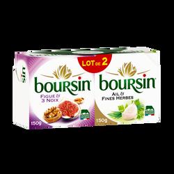 Fromage pasteurisé afh et figues noix BOURSIN, 39%mg, 2x150g