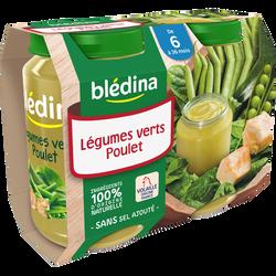 Petits pots pour bébé légumes verts et poulet BLEDINA, dès 6 mois, 2x200g