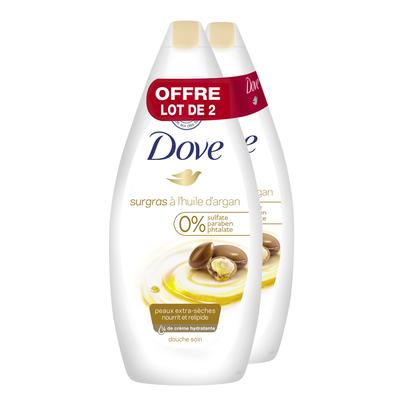 Gel douche surgras soin & huile pour peaux sèches DOVE, 2 flacons de 400ml