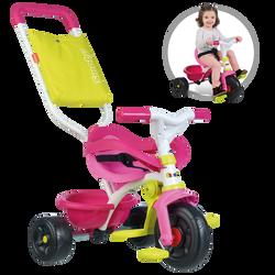 Tricycle SMOBY be fun rose-de 10 mois à 3 ans-benne basculante-cadre métal-repose pieds rétractable-arceau-ceinture de sécurité