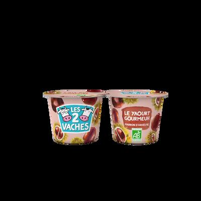 Yaourt brassé bio sucré marrons et vanille LES 2 VACHES, 2x115g