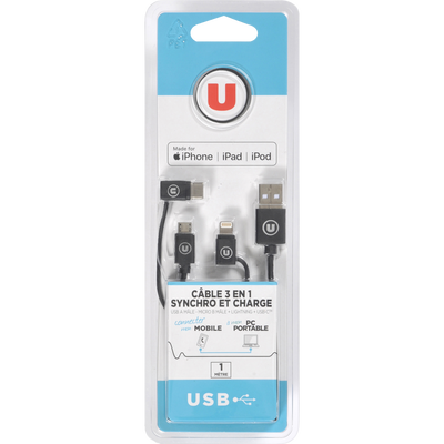 CABLE U 3 EN 1 MICRO LIGHT USBC NOIR-SYNCHRONISATION/CHARGE- USB A MALE-MICRO B MALE-1M-ADAPTATEUR USB C