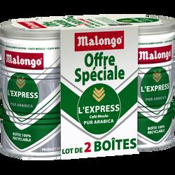 Café moulu 100% arabica express MALONGO, boîte en fer, 2x250g