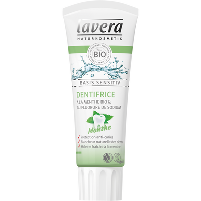 Dentifrice basis sensitiv menthe + socle LAVERA, tube de 75ml