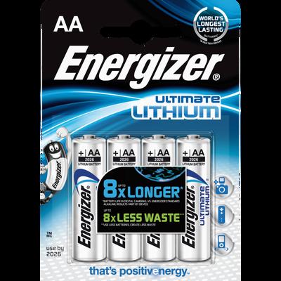 Piles Ultimate Lithium ENERGIZER, LR6, 4 unités
