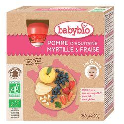 Gourde Pomme Myrtille Fraise BABYBIO dès 6 mois 4x90g