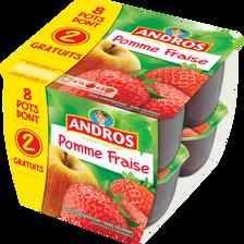Andros Dessert Fruitier Aux Pommes Et Aux Fraises , 8x100g Dont 2 Gratuits