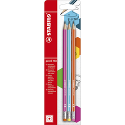 Crayon PENCIL 160 bout gomme, HB, corps hexagonal, mine graphite, 3 unités