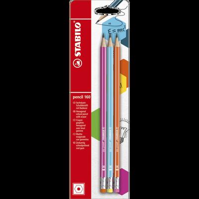 Crayon PENCIL 160 bout gomme, HB, corps hexagonal, mine graphite, 3 unités