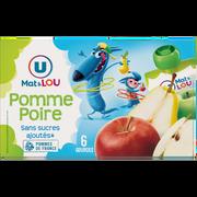 Lou Gourdes À La Pomme Et À La Poire Sans Sucre Ajouté U Mat & Lou, 6x90g