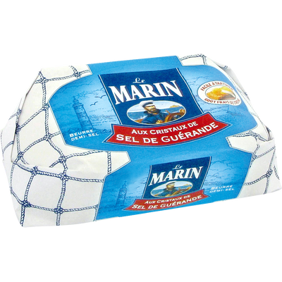 Beurre aux cristaux de sel de Guérande LE MARIN, 80% de MG, plaquettede 250g