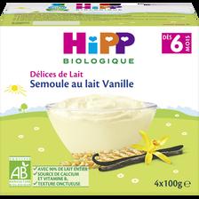 Semoule au lait vanille dès 6 mois BIO HIPP, coupelles 4x100g