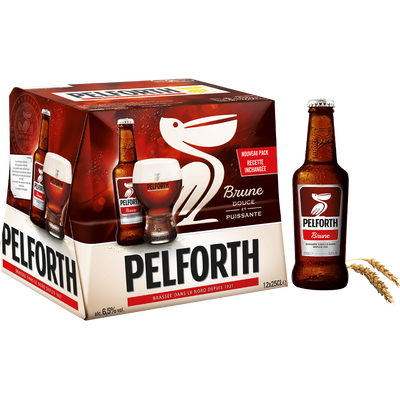 Bière brune PELFORTH, 6,5°, pack de bouteilles 12x25cl