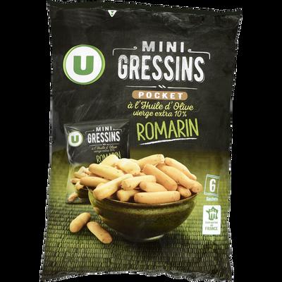 Mini gressins romarin U, 6 paquets de 20g, 120g
