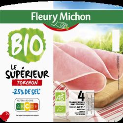 Jambon supérieur bio torchon sans couenne -25% de sel FLEURY MICHON 4tranches fines 120g
