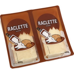 Fromage à raclette pasteurisée tranchée, 28% de MG, 2x400g