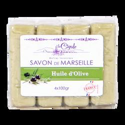 Savons de Marseille à l'huile d'olive LA CIGALE, 4x100g