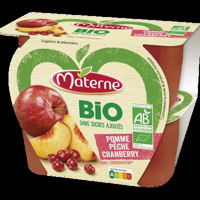 Dessert de fruits sans sucre ajouté bio pomme pêche cranberry MATERNE,4x100g