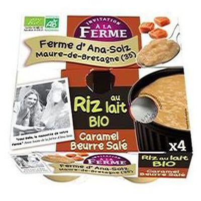 Riz au lait bio au caramel beurre salé, Ferme d'Ana-Soiz, 4×125g