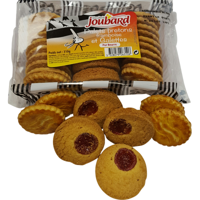 Assortiment galettes beurre & palets framboises BISCUITERIE JOUBARD, 310g
