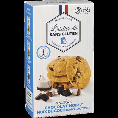 Cookies chocolat noir et noix de coco sans gluten sans lactose L'ATELIER DU SANS GLUTEN, 150g