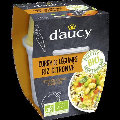 Curry de légumes riz citronné bio D'AUCY, bi cup de 300g