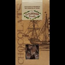 Amandes enrobées de chocolat noir, LA PLANTATION BOVETTI, sachet de 120g