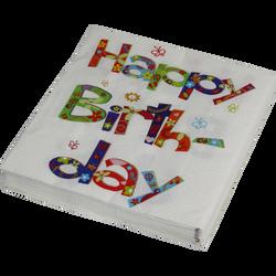 Serviette happy birthday, 3 plis, 33x33cm, 20 unités