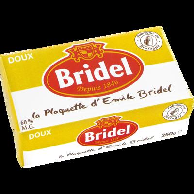 Beurre doux teneur réduite en matière grasse BRIDEL, 60%MG, plaquettede 250g