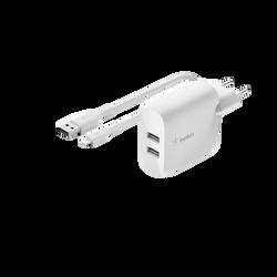 Double chargeur mural 24 watts-2 connecteurs de sortie usb