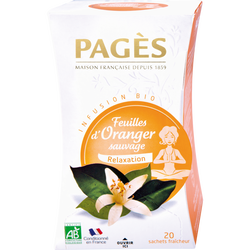 Infusion feuilles d'oranger sauvage relaxation bio, PAGES, 20 sachetsde 30g