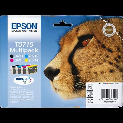 Pack 4 cartouches d'encre EPSON T0715 Guépard, sous blister